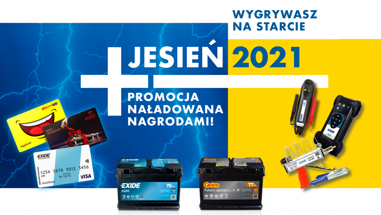 Akumulatory Centra i Exide w sprzedaży premiowej – WYGRYWASZ NA STARCIE – JESIEŃ 2021